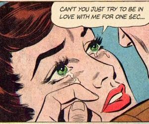 comic, sad, and vintage image