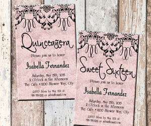 birthday, invitations, and quinces image