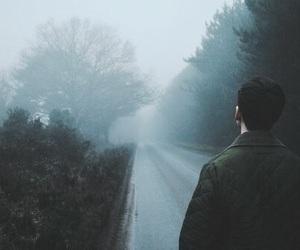 road, boy, and fog image
