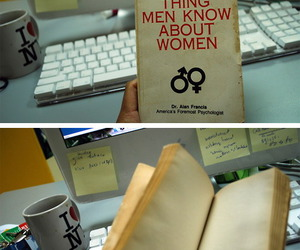 woman, book, and men image