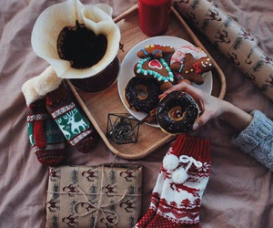 christmas, winter, and donuts image