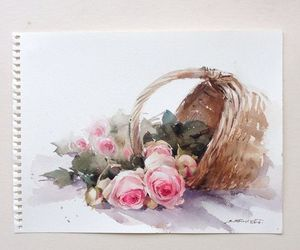 flower, roses, and painting image
