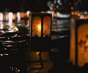 floating, lights, and water image