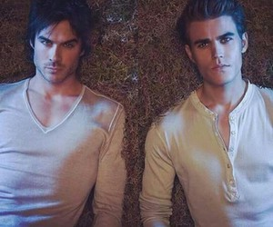 paul wesley, damon, and ian somerhalder image