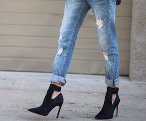 fashion, heels, and jeans image