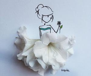 flowers, art, and white image