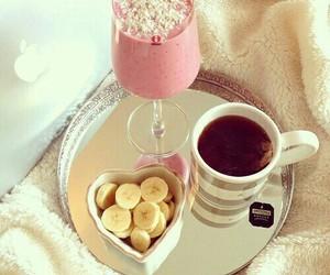 food, banana, and tea image