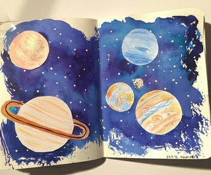 art, galaxy, and planets image