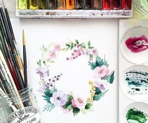 art, Brushes, and wreath image