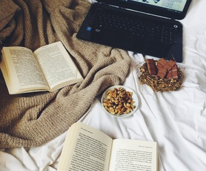 books, winter, and chocolate image
