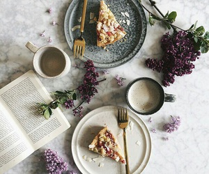 book, lilac, and cake image