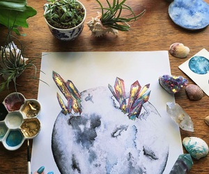 art, crystals, and flowers image