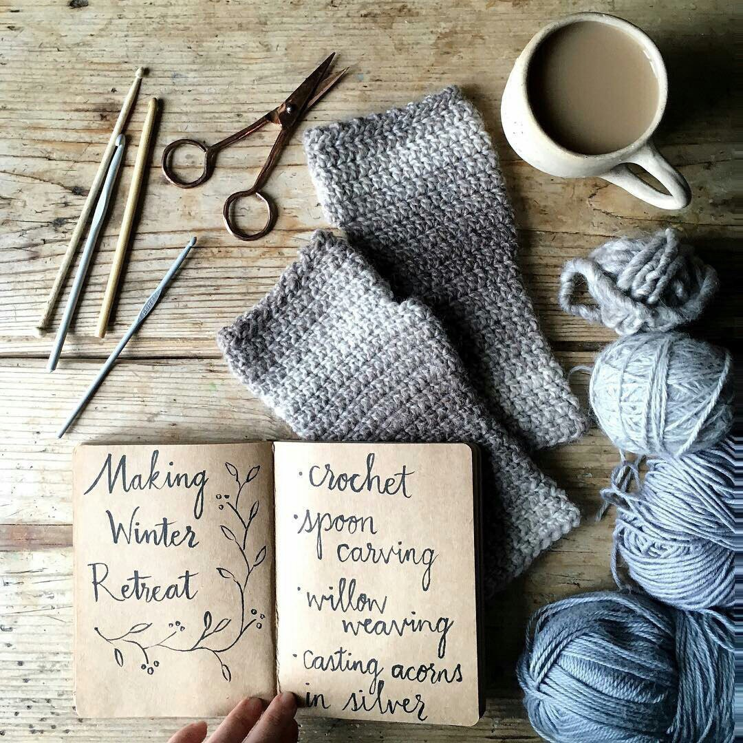 crocheting, knitting, and notebook image