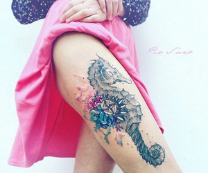 tattoo, sea horse, and thigh image