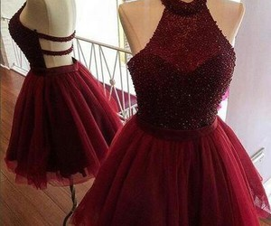 dress, prom dresses, and red image