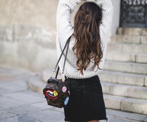 bag, brown, and brunette image