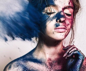 blue, girl, and red image