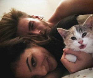 love, cat, and couple image