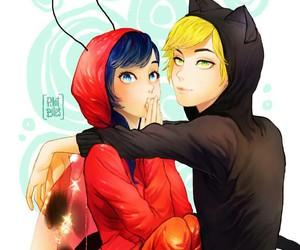 Adrien, ladybug, and miraculous ladybug image