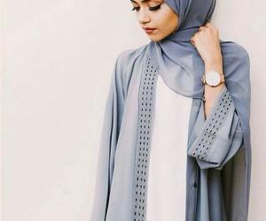 hijab, blue, and makeup image