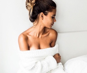 brunette, cozy, and sweater image