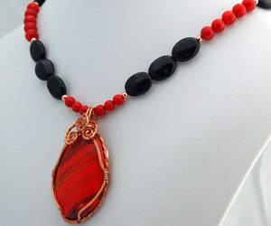 etsy, coral necklace, and obsidian necklace image