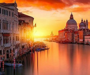 venice, italy, and sunset image