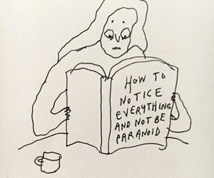 paranoid, book, and drawing image