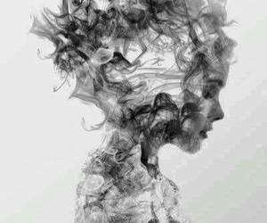 art, black and white, and smoke image