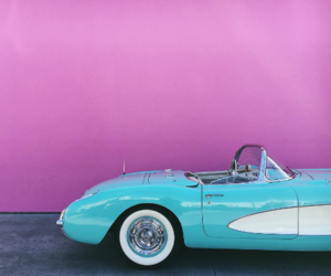 pink, car, and blue image