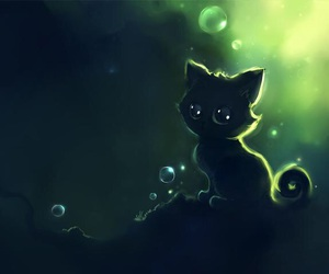 cat, art, and green image