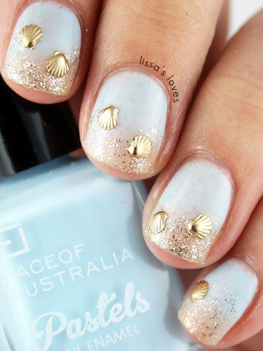 nails, nail art, and beach image