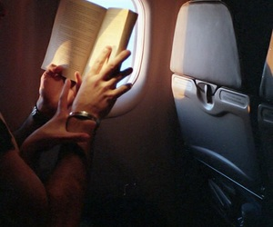 book, plane, and couple image