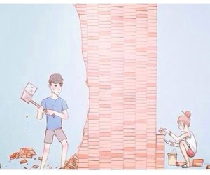 love, boy, and wall image