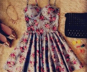 blue, dress, and floral image