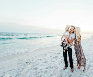 beach, family, and kiss image