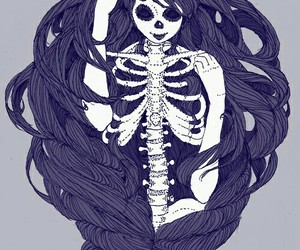 girl, skeleton, and draw image