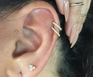 piercing, nails, and earrings image