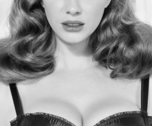 Christina Hendricks, black and white, and vintage image