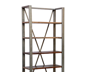 shelve, book stand, and wood-iron shelve image