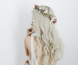 hair, flowers, and white image