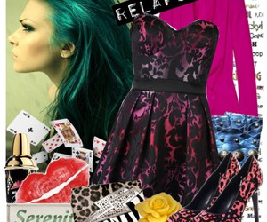 blue hair, outfit, and Polyvore image