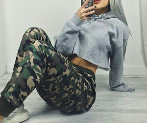 straight silver hair, grey crop hoodie, and nike sneakers image