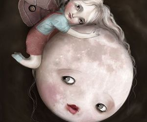 little girl and moon image