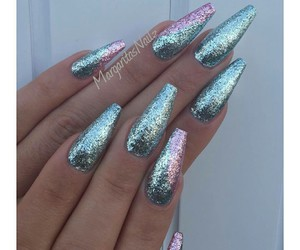 sparkly and acrylic nails image
