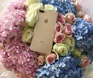 girl, flowers, and iphone image