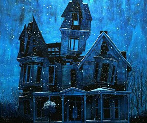 haunted house, winter, and night image