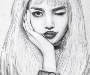 b&w, blackpink, and drawing image