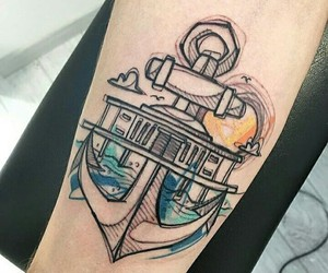 anchor, tattoo, and arm image