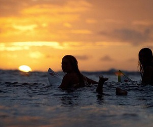 girl, surf, and sunset image